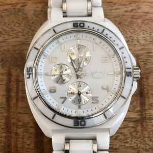 Saks Fifth Avenue white ceramic/stainless watch